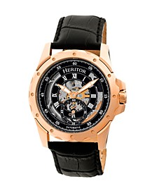 Automatic Armstrong Rose Gold & Black Leather Watches 44mm