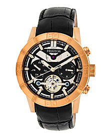 Heritor Automatic Hamilton Rose Gold & Black Leather Watches 44mm