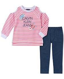 Calvin Klein Little Girls 2-Pc. Cold Shoulder Top & Denim Leggings Set