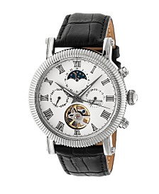 Heritor Automatic Winston Silver & White Leather Watches 45mm