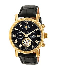 Heritor Automatic Winston Gold & Black Leather Watches 45mm