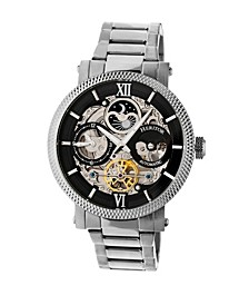 Automatic Aries Silver & Black Stainless Steel Watches 43mm