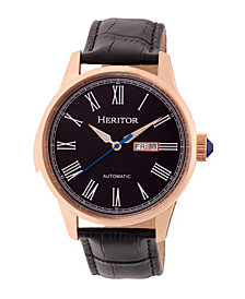 Heritor Automatic Prescott Rose Gold & Black Leather Watches 43mm