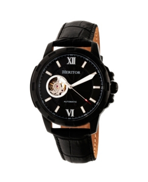 Heritor Automatic Bonavento Black Leather Watches 44mm