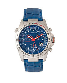 Morphic M36 Series Leather-Band Chronograph Watch - Silver/Blue