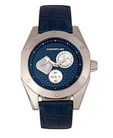 Morphic M46 Series Leather-Band Men's Watch w/Date - Silver/Navy