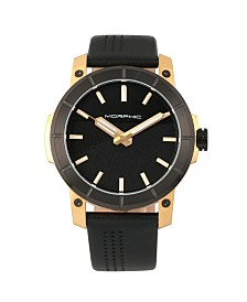 Morphic M54 Series, Gold Case, Black Leather Band Chronograph Watch, 46mm
