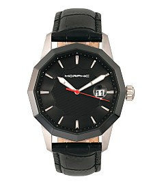 Morphic M56 Series, Silver Case, Black Leather Band Watch w/Date, 42mm