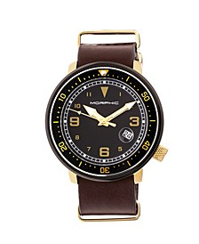 M58 Series, Gold Case, Dark Brown Nato Leather Band Watch w/ Date, 42mm