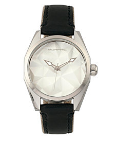 Morphic M59 Series Leather-Overlaid Canvas-Band Watch - Silver