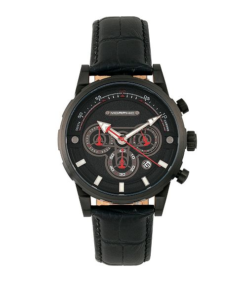Morphic M60 Series, Black Case, Black Leather Chronograph Band Watch w/Date, 45mm