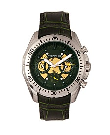 M66 Series, Skeleton Dial, Silver Case, Forest Green Leather Band Watch w/Day/Date, 45mm