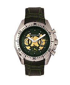 Morphic M66 Series, Skeleton Dial, Silver Case, Forest Green Leather Band Watch w/Day/Date, 45mm