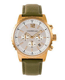 Morphic M67 Series Chronograph Leather-Band Watch w/Date - Gold/Olive