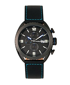 M64 Series, Black Case, Chronograph Blue Piped Black Leather Band Watch w/ Date, 48mm
