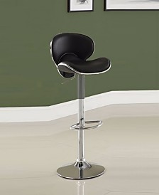 Leather & Metal Bar Stool With Adjustable Height