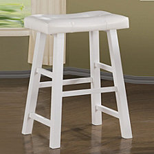 Rubber Wood Bar Stool with Rectangular Seat, Set of 2