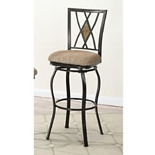 29 Inch Metal Swivel Barstool, Black, Set Of 2