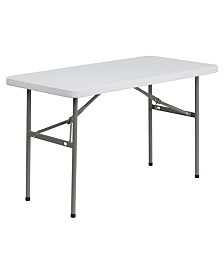 Offex 24''W x 48''L Height Adjustable Granite Plastic Folding Table