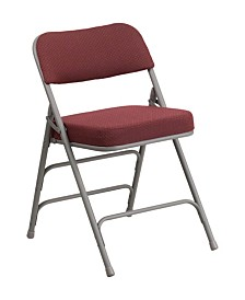 Offex Premium Curved Triple Braced & Double Hinged Black Pin-Dot Fabric Upholstered Metal Folding Chair
