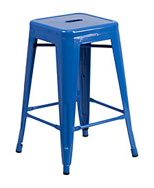 Offex 24'' High Backless Metal Indoor-Outdoor Counter Height Stool with Square Seat