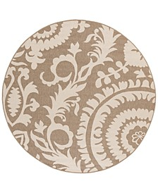 "Alfresco ALF-9623 Camel 5'3"" Round Area Rug, Indoor/Outdoor"