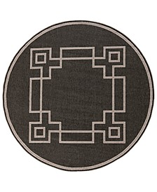 """Alfresco ALF-9630 Black 8'9"""" Round Area Rug, Indoor/Outdoor"""