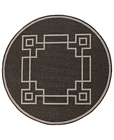 "Surya Alfresco ALF-9630 Black 5'3"" Round Area Rug"