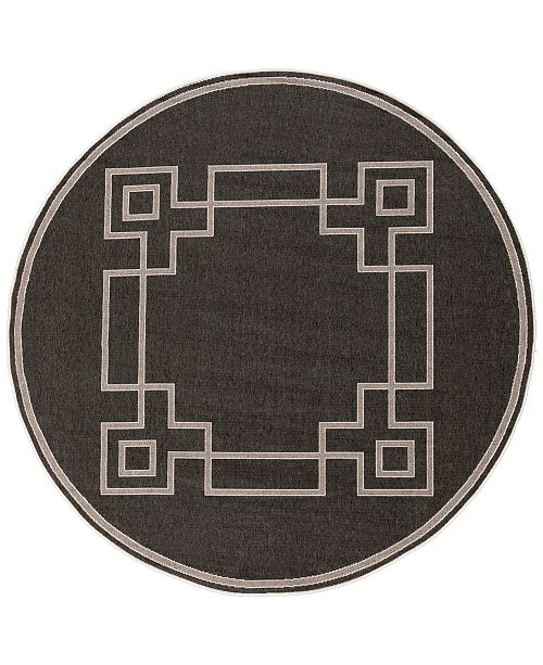 "Surya Alfresco ALF-9630 Black 5'3"" Round Area Rug, Indoor/Outdoor"