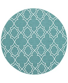 "Alfresco ALF-9653 Teal 5'3"" Round Area Rug, Indoor/Outdoor"