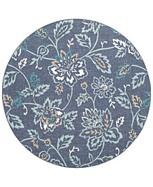 "Alfresco ALF-9673 Charcoal 7'3"" Round Area Rug, Indoor/Outdoor"