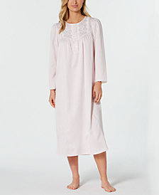 Miss Elaine Petite Brushed-Back Satin Nightgown