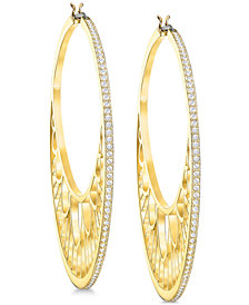 "Swarovski Crystal 2-1/8"" Hoop Earrings"
