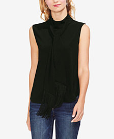 Vince Camuto Mock-Neck Fringed-Scarf Top