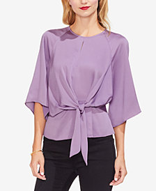 Vince Camuto Tie-Front Keyhole-Detail Top