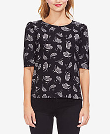 Vince Camuto Puff-Sleeve Printed Top