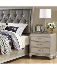3-Drawer Wooden Night Stand With Bun feet, Silver