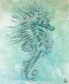 """Seahorse Ghost Drawing 16"""" X 20"""" Canvas Wall Art Print"""