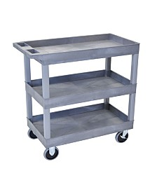 "Offex HD High Capacity 32"" x 18"" Tub Cart with 3 Shelves - Gray Shelves/Gray Legs"
