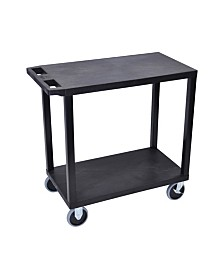 Offex OF-EC22HD-B 18-inches x 32-inches Cart with 2 Flat Shelves