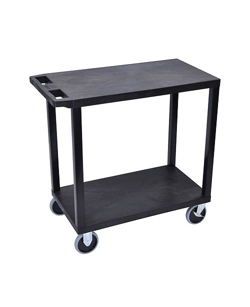 Clickhere2shop OF-EC22HD-B 18-inches x 32-inches Cart with 2 Flat Shelves