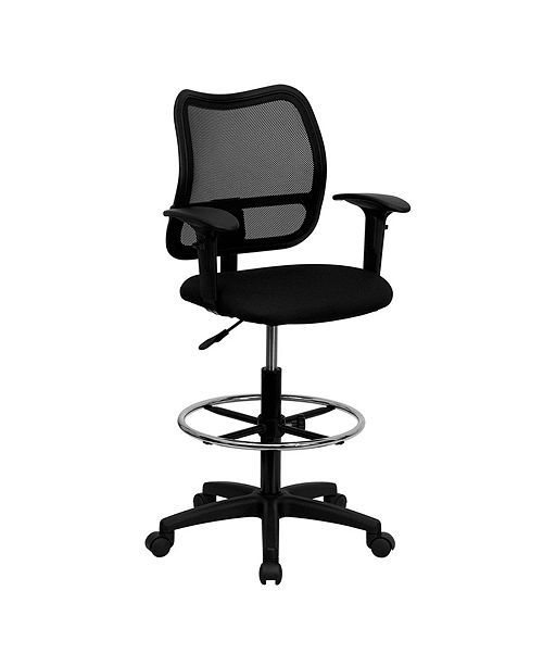 Clickhere2shop Mid-Back Navy Blue Mesh Drafting Chair with Adjustable Arms