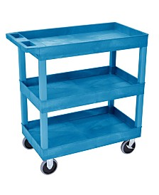 "Offex 32"" x 18"" Three Shelves Tub Utility Cart - Blue"