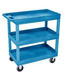 "Clickhere2shop 32"" x 18"" Three Shelves Tub Utility Cart - Blue"