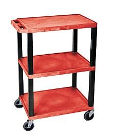 Offex OF-WT34RS-B - Multipurpose Utility A/V Cart 3 Shelves - Black Legs