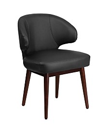 Offex Burgundy Leather Reception-Lounge-Office Chair with Walnut Legs
