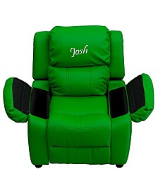Offex Personalized Deluxe Heavily Padded Turquoise Vinyl Kids Recliner with Storage Arms