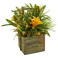 Nearly Natural Bromeliad and Mixed Greens Artificial Arrangement in Planter