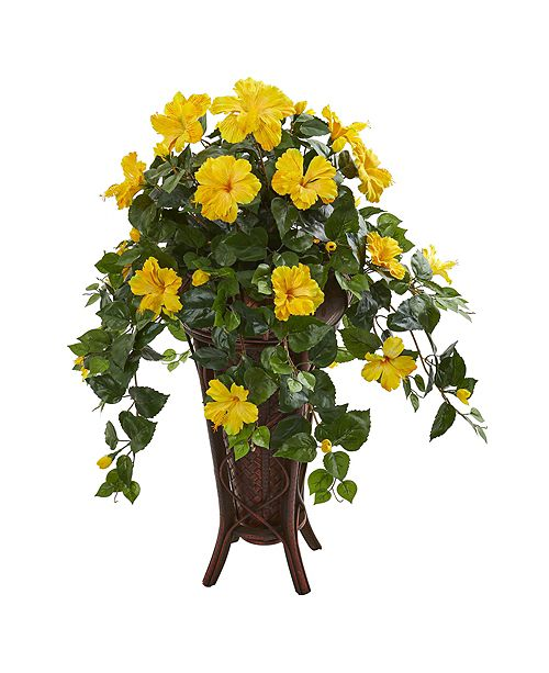 Nearly Natural Hibiscus Artificial Plant in Stand Planter