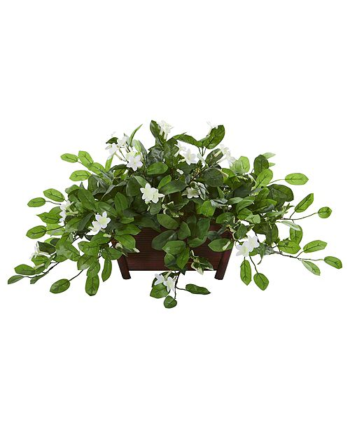 Nearly Natural Mix Stephanotis Artificial Plant in Decorative Planter